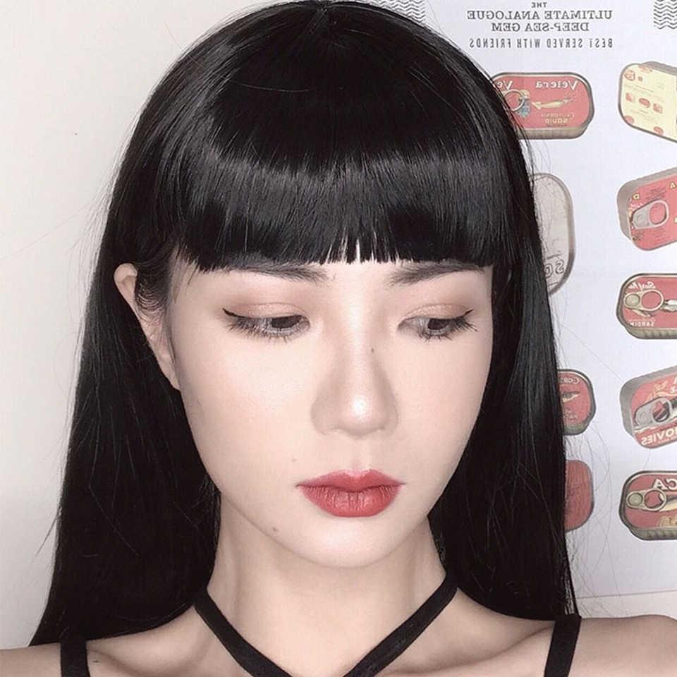 Fałszywe krótkie grzywki włosy doczepiane clip in wysokiej temperatury włókna syntetyczne brązowy moda grzywką matowy jedwabny peruka dla kobiet