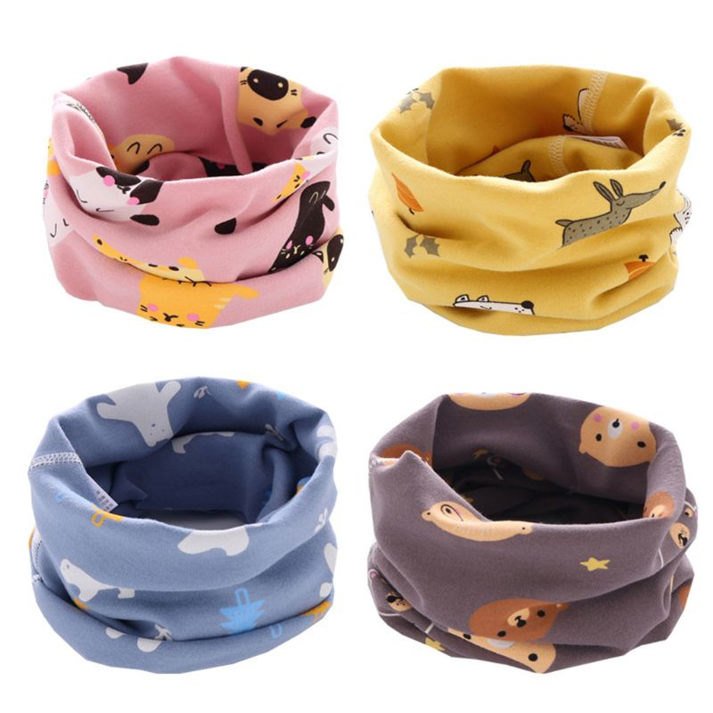 Toddler Girls Boy Scarf Baby Kids O-ring Scarf Neck Warmer Cartoon Neckerchief