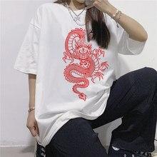 T-shirt das Mulheres de grandes dimensões do Dragão do Estilo Chinês Impressão Mulheres T-shirt de Manga Curta Casuais Camisa Harajuku Solto Topos T-shirt Feminina