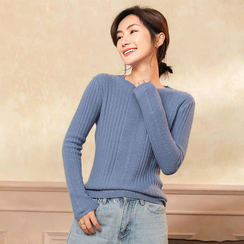 겨울 하이 엔드 캐시미어 스웨터 o-넥 부드러운 탄성 스웨터와 풀오버 여성 플러스 사이즈 긴 소매 스웨터 여성 점퍼