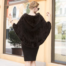 New real genuine natural knitted mink fur shawl coat women's fashion knit jacket with hood cape(China)