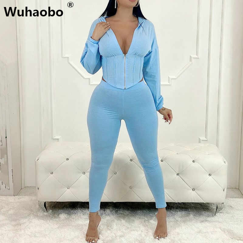 FOBEXISS Womens Bodycon Workout Outfits 2 Piece Long Sleeve Cropped Hoodie Tops and Leggings Striped Zip Tracksuits