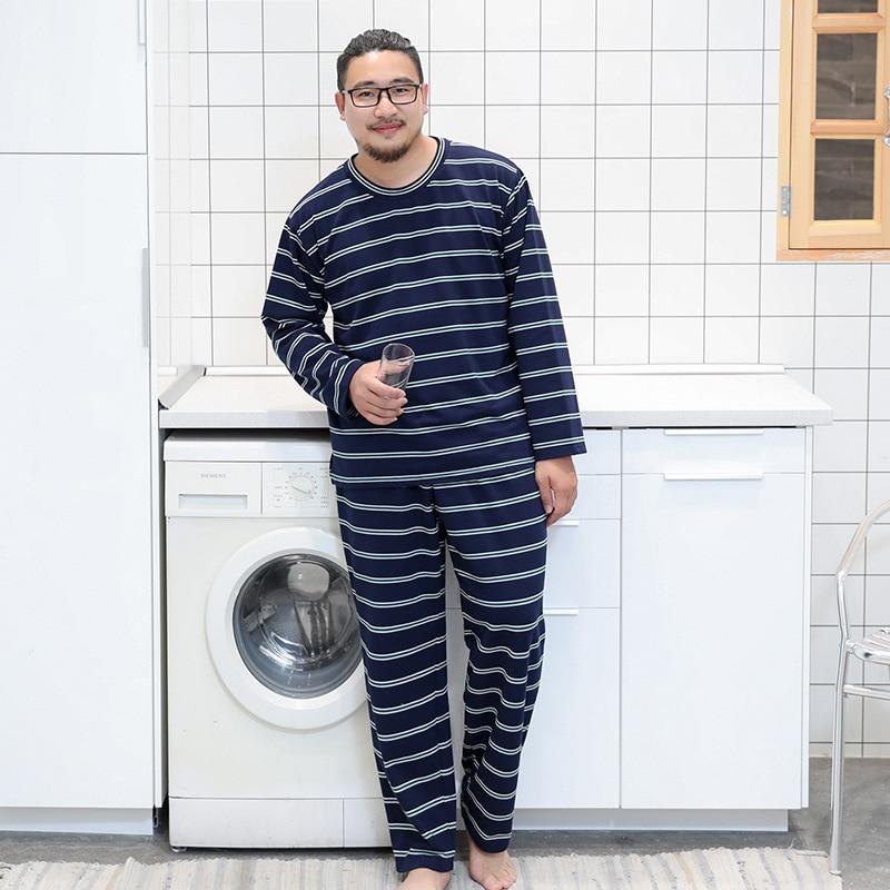 MSPajamas набор Мужская пижама с длинными рукавами мужская домашняя пижама одежды большой размер Полосатый круглый вырез сплошной цвет брюки с