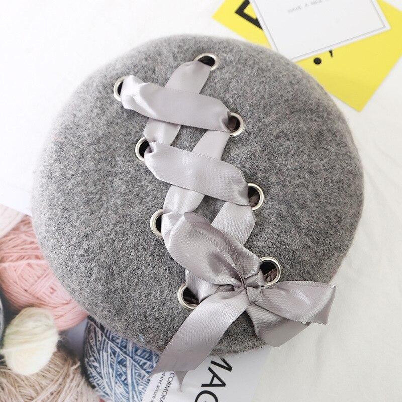 Шерстяные женские Зимние береты, роскошные бархатные винтажные кашемировые женские теплые модные береты, шапки для девушек, плоская кепка, берет для женщин - Цвет: DarkGray