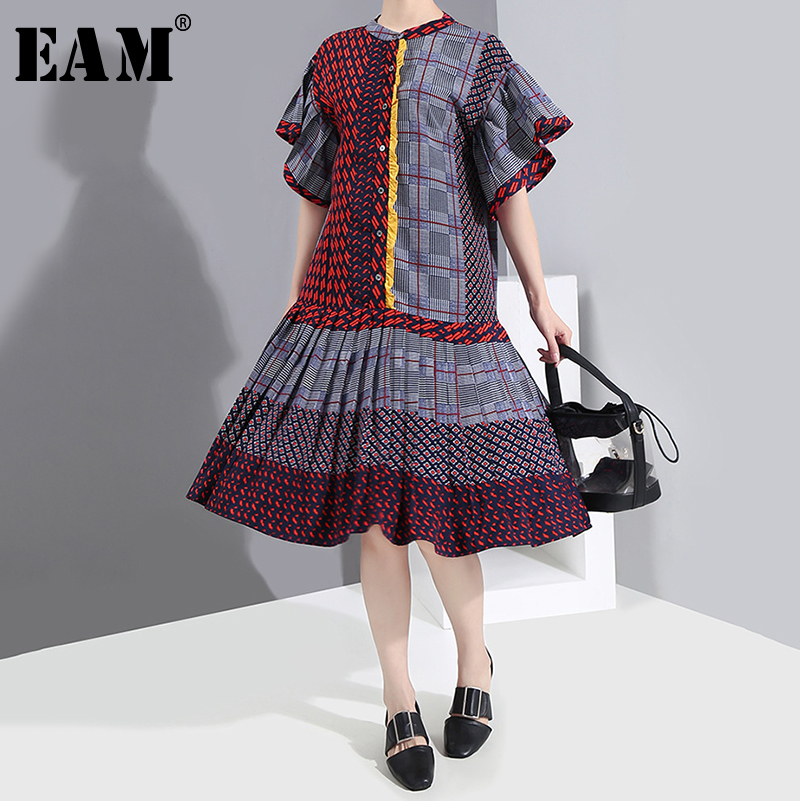 [EAM] Women Pattern Printed Pleated Temperament Dress New Round Neck Short Sleeve Loose Fit Fashion Spring Summer 2020 1S541