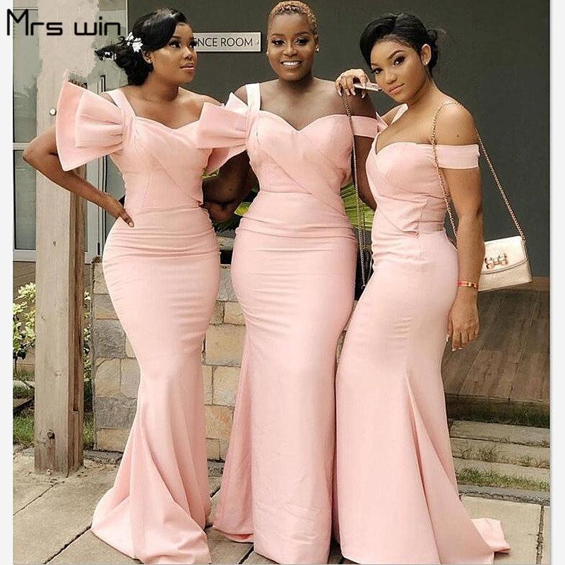 Mrs Win Bridesmaid Dresses Under 50 Meramid Long Women Wedding Party Dress 2020 Boat Neck Big Bow Pink Vestido Madrinha HR074