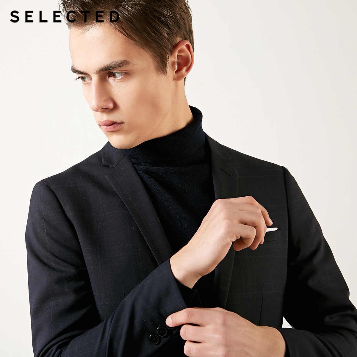 選択された男性のスリムフィット羊毛明暗パターンブレザージャケットt | 41915Y501