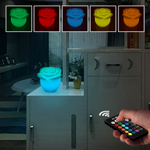 купить 3D Rose LED Night Light Mood Outdoor Garden Creative LED Light Rechargeable 5W 16 Colors Dimmable RGB Remote Control Desk Lamp дешево