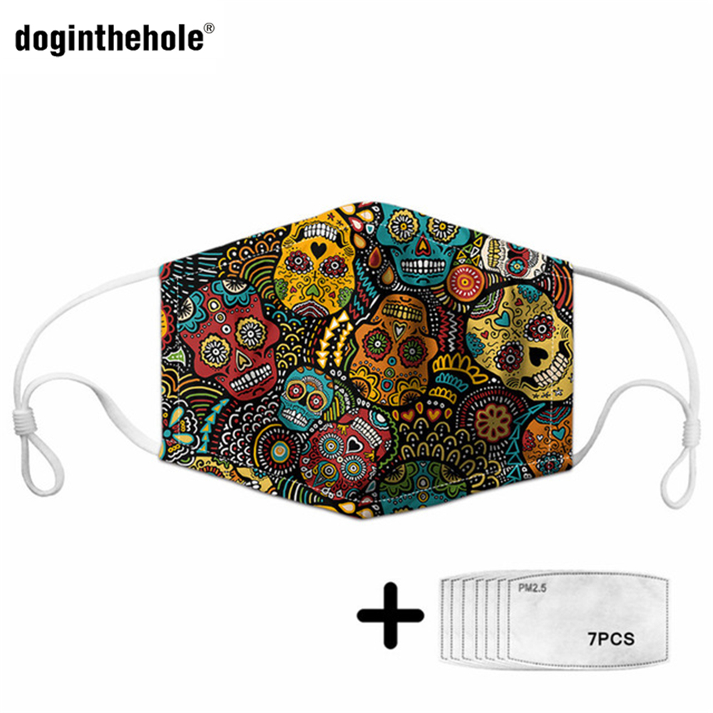 Doginthehole Sugar Skull Design Masks Adults&Kids Outdoor PM2.5 Protection Half Face Mouth Cover 7Pcs Filters Health Mascarilla