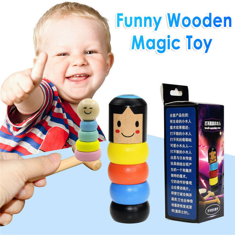 Creative Magic Stubborn Wood Man Trick Funny Wooden Toy Unbreakable Stage Magic Props Gift