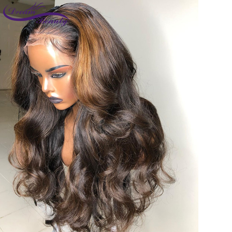 H9afd332b6493464788ce5b24cc3a75e1m 13x6 Deep part Lace front Wigs Glueless Lace Human Hair Wigs Ombre Color Wigs Brazilian Remy Body wave Wig Dream Beauty