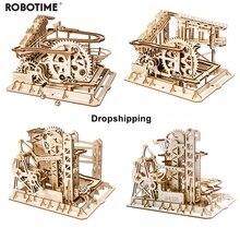 Robotime 4 tipos de mármore run jogo diy modelo de madeira kits montagem brinquedo para crianças presentes aniversário