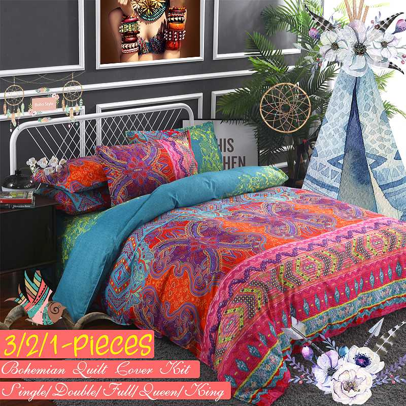 Mandala Reversible Duvet Cover Set Bed