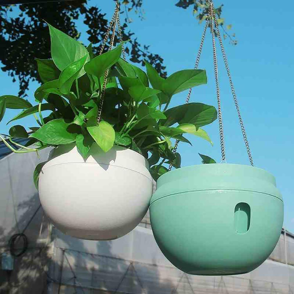 Multicolor Modern Style Automatic Watering Flower Pot Indoor And Outdoor Hanging Automatic Suction Wateri Flower Pot With Hook