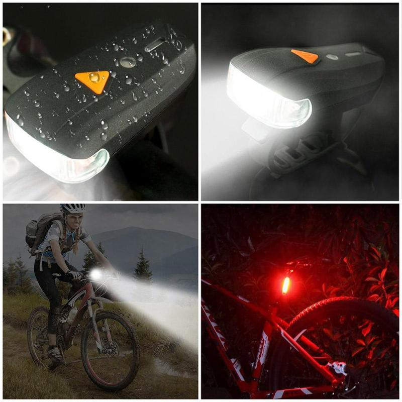 400LM Smart MTB Bicycle Front Light USB Rechargeable With Bike Lamp MTB Bike Rear LED Lights Kit Bicycle Accessories