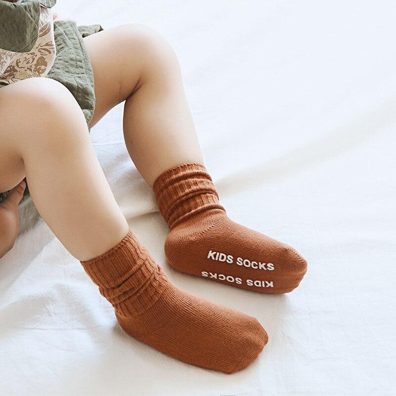 Children Socks For Girls Boys Newborn Baby Anti Slip Socks High Quality Fashion Solid Cotton Kids Socks Clothes Accessories