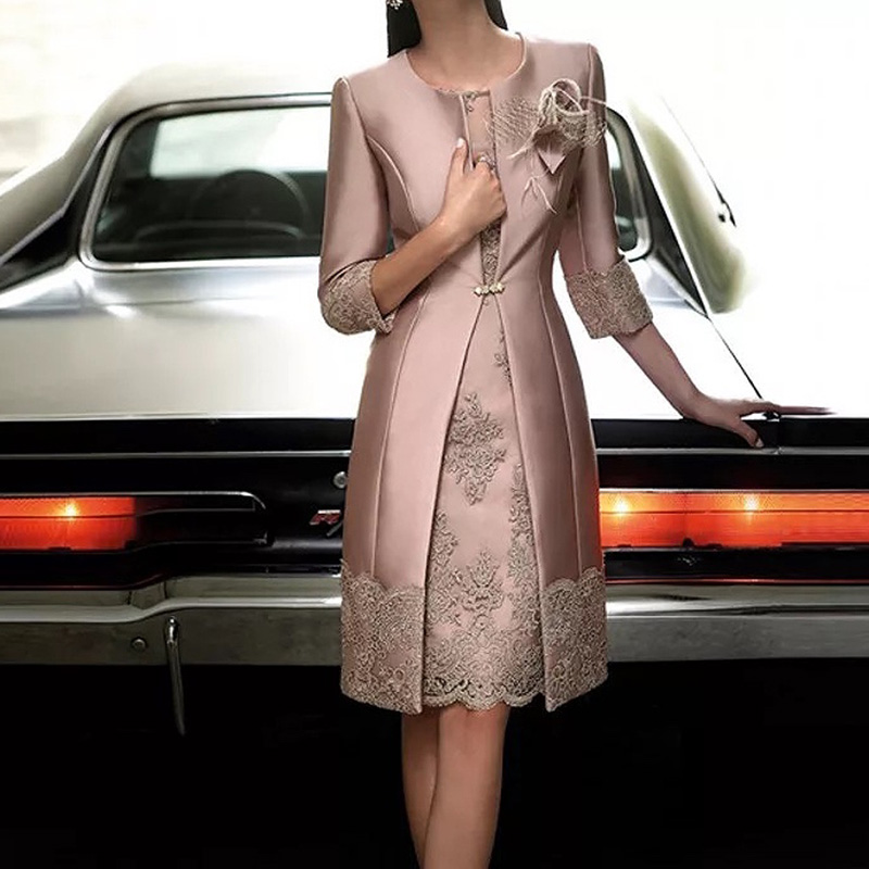 Dusty Rose Two Pieces Mother of the Bride Dresses Knee Length with Jacket Mother Dresses High Quality Wedding Party Evening Gown