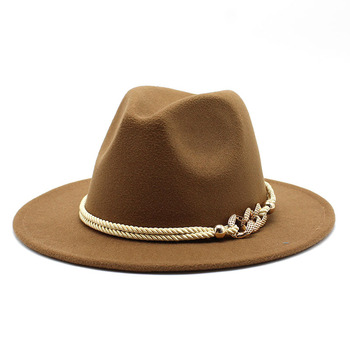 Black/white Wide Brim Simple Church Derby Top Hat Panama Solid Felt Fedoras Hat for Men Women artificial wool Blend Jazz Cap 3