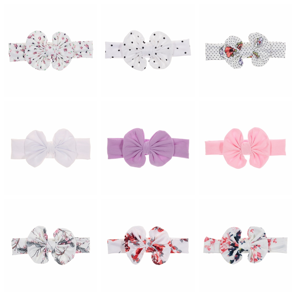 New 1PCS Bow Knot Headwraps Printing Dot Flower Baby Girls Cotton Soft Elastic Headbands Photo Shoot Hair Accessories