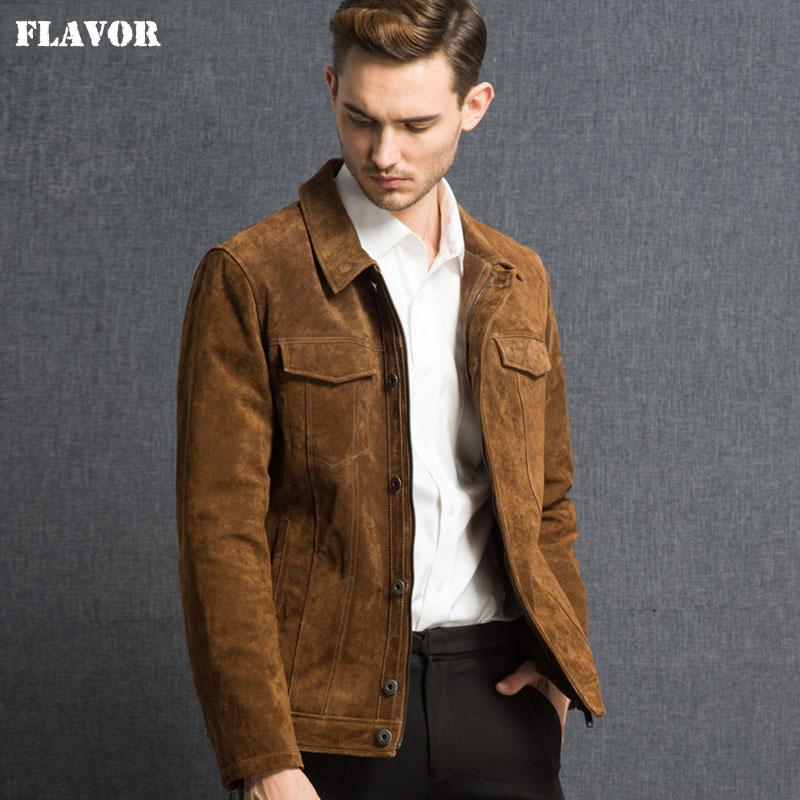 2016 Men's Real Leather Jacket Pigskin Genuine Leather Jacket Men Pig Leather Denim Jacket Coat