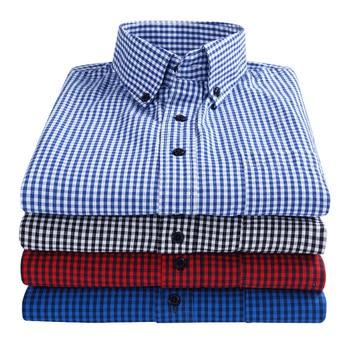Fashion Men's Plaid Shirts Cotton Streetwea Clothing Button Down Shirt Long Sleeve Man Korean Shirt Casual Camisas Para Hombre button up long sleeve plaid shirt