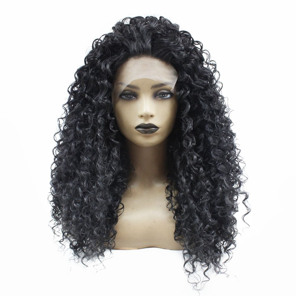 Glueless Long Kinky Curly Lace Front Wig Black 1b# Natural Hairline with Baby Hair Heat Resistant Fiber Synthetic Wigs for Women