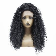 цена на Glueless Long Kinky Curly Lace Front Wig Black 1b# Natural Hairline with Baby Hair Heat Resistant Fiber Synthetic Wigs for Women