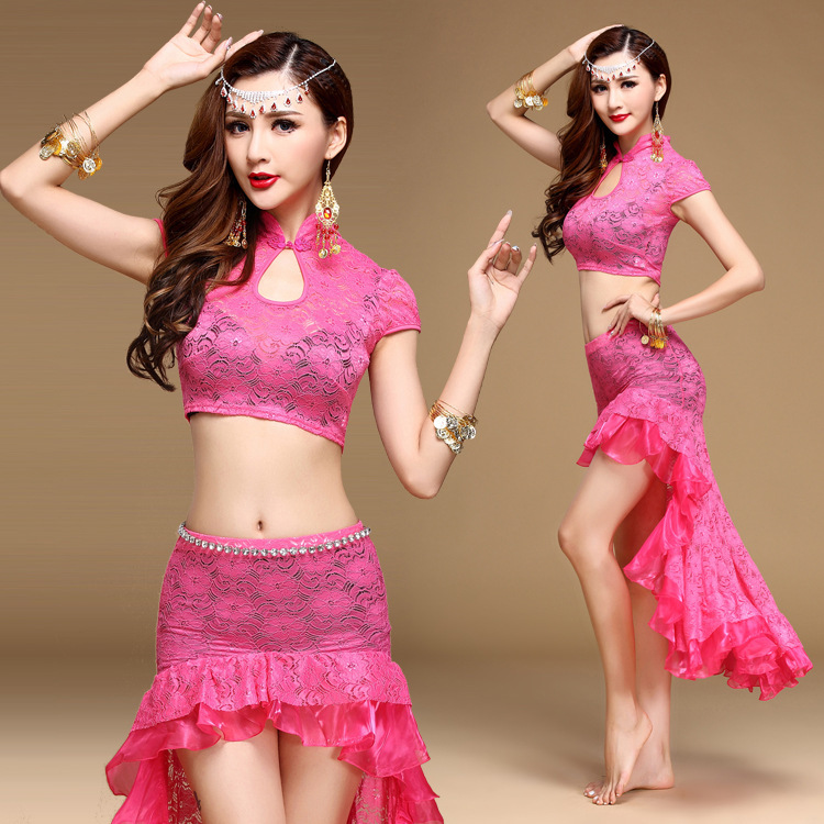 Belly Dance Suit Training Clothes Female Women Adult Oriental Dance Group Performance Costumes Lace Sexy Two Piece Skirt Set