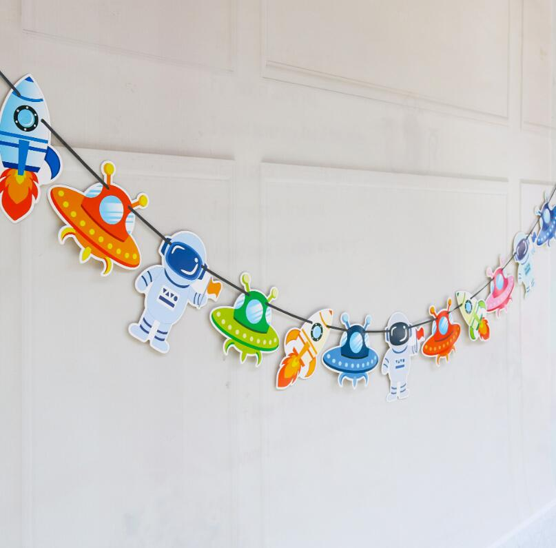 Twins Party Space Theme Happy Birthday Banner Rocket Spaceship Astronaut Decoration Birthday Theme Party Shower Decoration in Banners Streamers Confetti from Home Garden