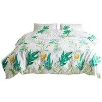 Flower Quilt Set Soft Microfiber Filled Bedding Plant Flower and Green Leaf Pattern Quilt Set|Duvet Cover|   -