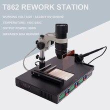عالية الجودة PUHUI T862 110 فولت/220 فولت 800 واط الأشعة تحت الحمراء بغا آلة إعادة العمل بغا مصلحة الارصاد الجوية SMT إزالة لحام محطة سبيكة لحام إصلاح
