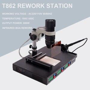 Image 1 - גבוהה באיכות PUHUI T862 110 V/220 V 800W אינפרא אדום bga עיבוד חוזר מכונת BGA SMD SMT הסרת הלחמה עיבוד חוזר תחנת הלחמה ברזל תיקון