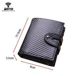 Image 3 - DIENQI Vintage Leather RFID Blocking Card Holder Mens Smart Business Wallet Big Bank Creditcard Holder Pocket Case Protector Bag