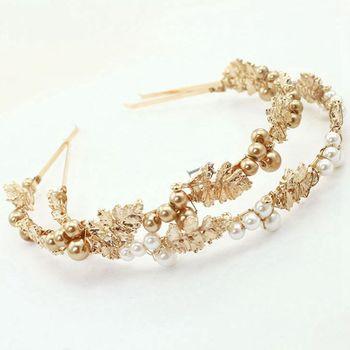 Diadema de joyas barroca Vintage perla de imitación hojas de Metal dorado aleación Aro para el pelo