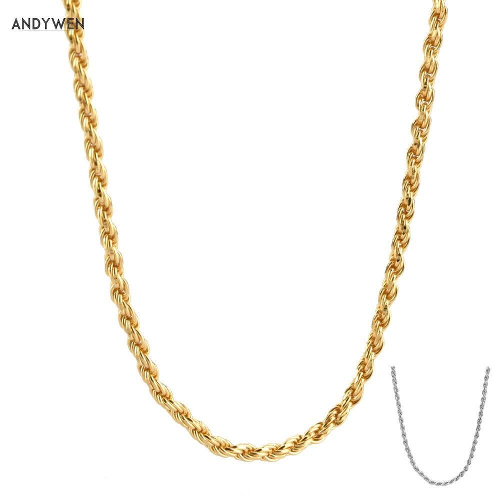 ANDYWEN Neue 925 Sterling Silber Gold Twist Kette Lange Kette Choker Halskette 2020 Neue Rock Punk Luxus Mode Schmuck Juwelen