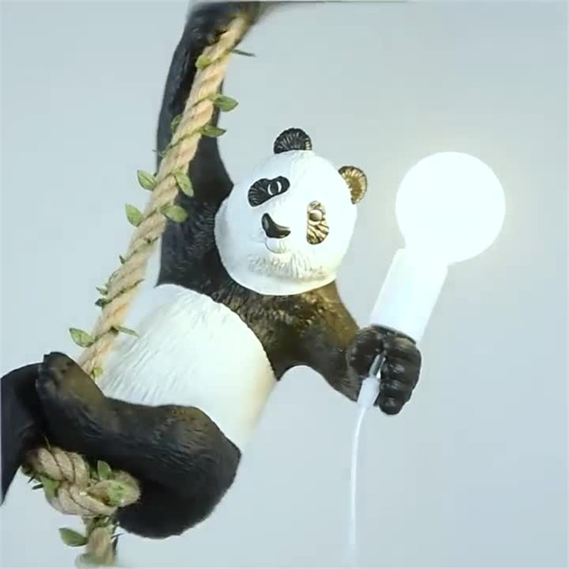 Nordique pastorale résine Kung Fu Panda pendentif lumières confortable Animal décoratif chanvre corde suspension lampe Restaurant salon enfant chambre