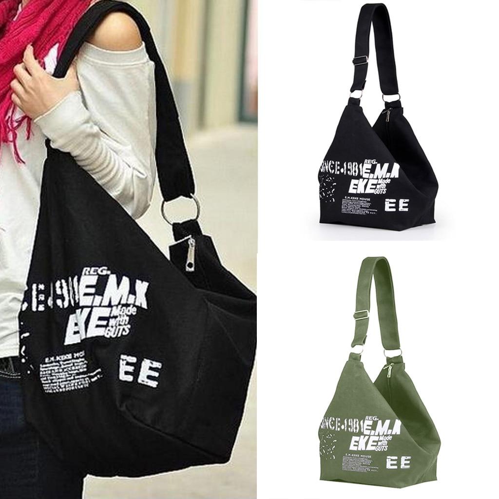 Ladies Canvas Large-capacity Travel Bag Ladies Shoulder Bag Casual Tote Shopping Bag Letter Print Tote Messenger Bag
