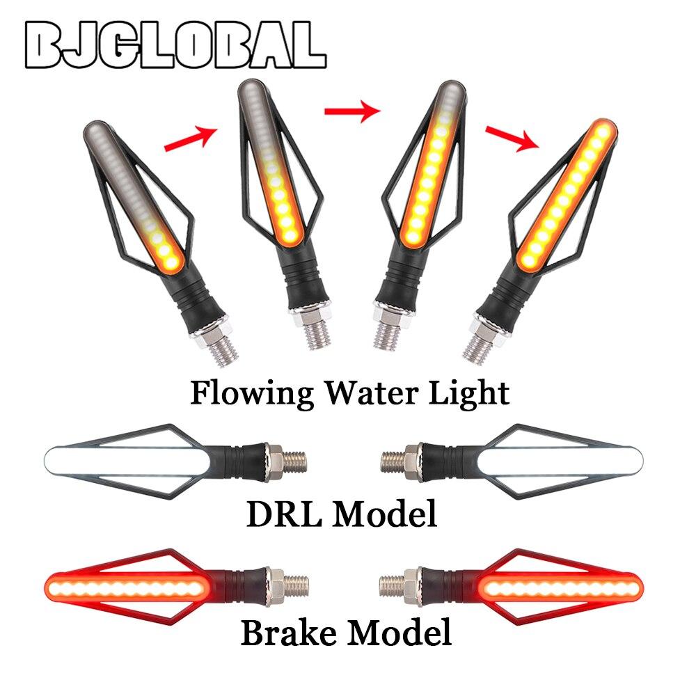 12v LED Turn Signals Lamps Flowing Water Stop Light Motorcycle Flasher Signal Lights Brake Flasher Light Indicators Blinker Led