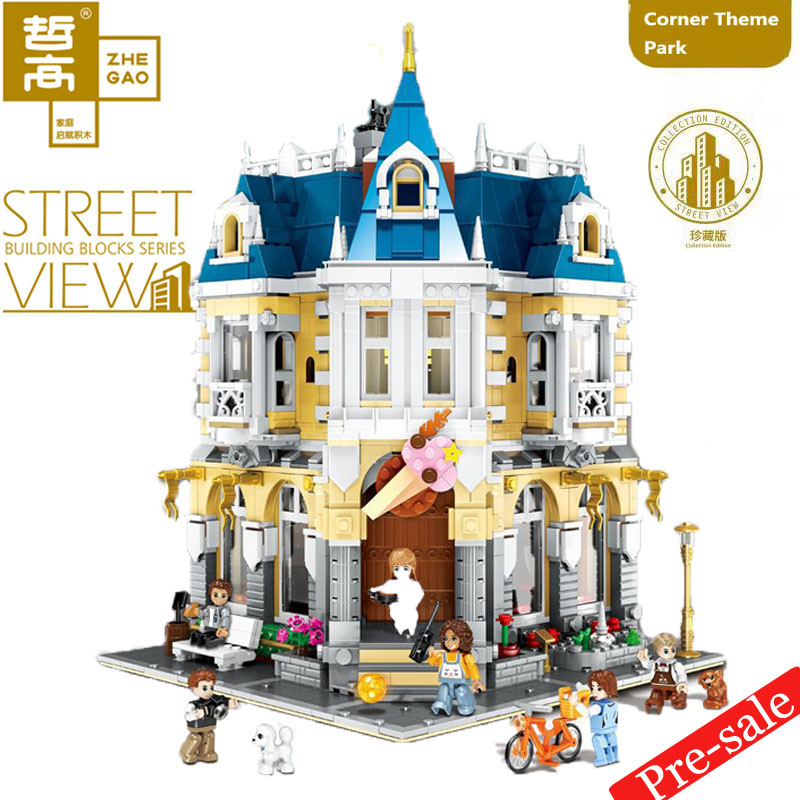 2020 MOC QL0923 25 limited edition City Street View Corner Theme Park bookstore Model Building Kits Blocks Bricks Kids Toys Gift