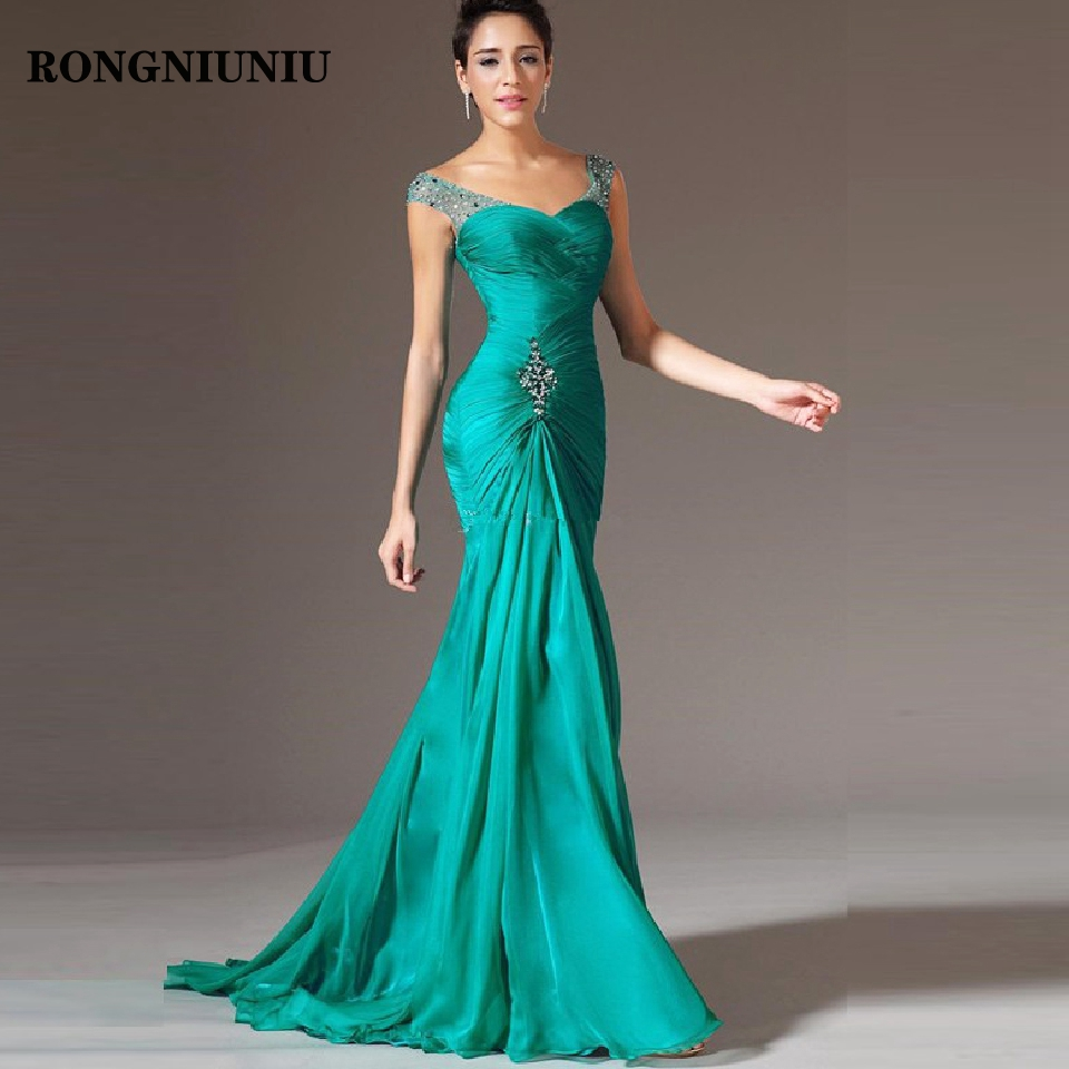Cheap Mermaid Evening Party Dress 20219 Vestido De Festa Beads Green Chiffon Long Pageant Formal Gowns Prom Dresses
