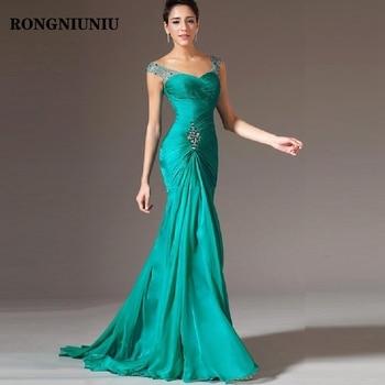 Cheap Mermaid Evening Party Dress 20219 Vestido De Festa Beads Green Chiffon Long Pageant Formal Gowns Prom Dresses
