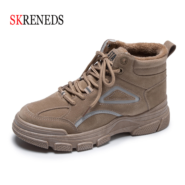 SKRENEDS Women Casual Sneakers Winter Sneakers Plush Fur Warm Women Shoes Lace Up Female Boots Comrfortable Platform Shoes Women