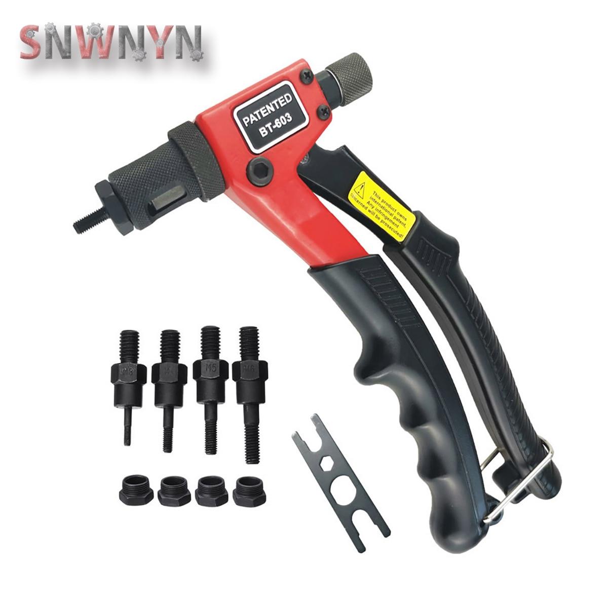 BT-603 Manual Riveter Gun Kit Hand Rivet Tool Rivet Nut Setting Tools Nut Setter Hand Riveter with Mandrels M3/M4/M5/M6
