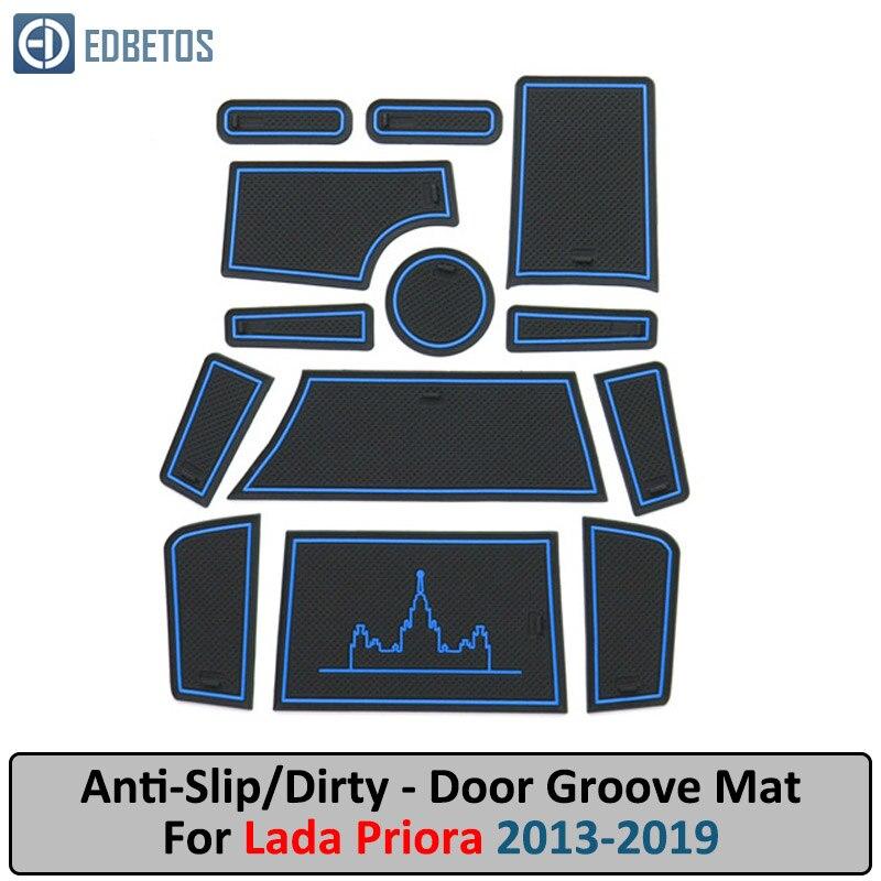 Door Groove Mat For LADA PRIORA 2013-2016 2017-2019 Anti-Slip Mat Gate Slot Coaster Anti-Dirty Mat  LADA PRIORA Accessories