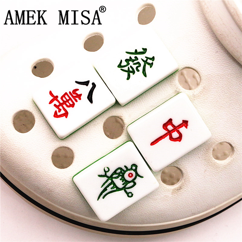 Simulation Mahjong Cards Shoe Charm Decoration Realistic Novel Funny Shoe Buckle Accessories Fit Croc Jibz Kids Party X-mas Gift