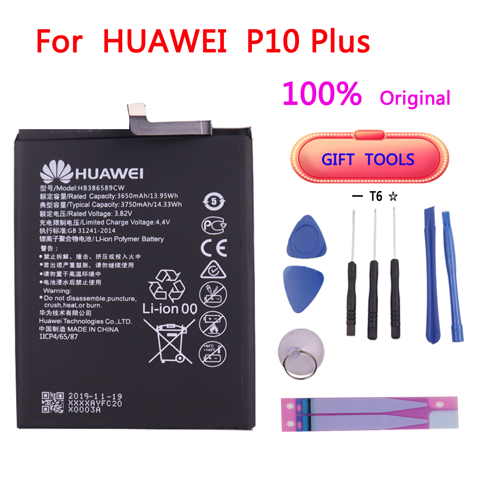 100% Original HB386589CW 3650mAh <font><b>Battery</b></font> For <font><b>Huawei</b></font> <font><b>P10</b></font> Plus Batterie Bateria Accumulator Mobile Phone with tools image