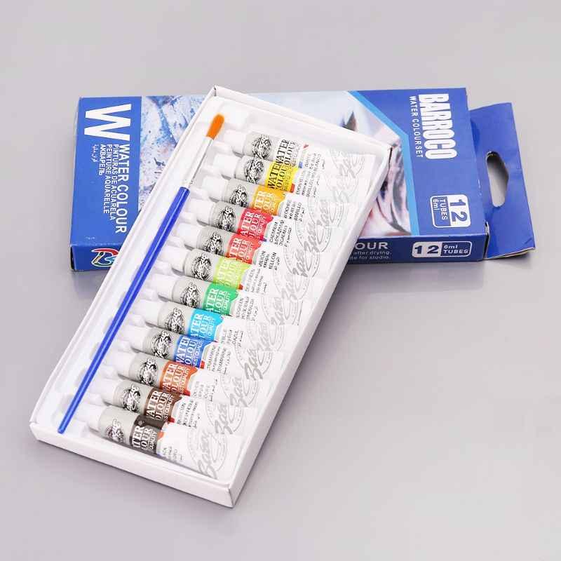 Tubos de 12 colores, 6 tubos de pintura ml, conjunto de pigmento de acuarelas con pincel, suministros de arte