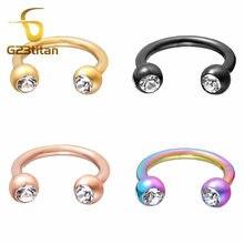 G23titan 16g halteres circulares cristal titânio septo orelha cartilagem piercing anéis moda jóias do corpo