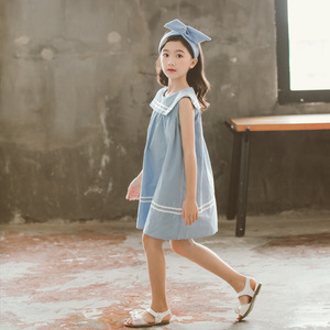 Image 5 - 新 2020 ガールプレッピースタイルのセーラー襟プリンセスドレス幼児レジャーベストドレス素敵な、 #5157