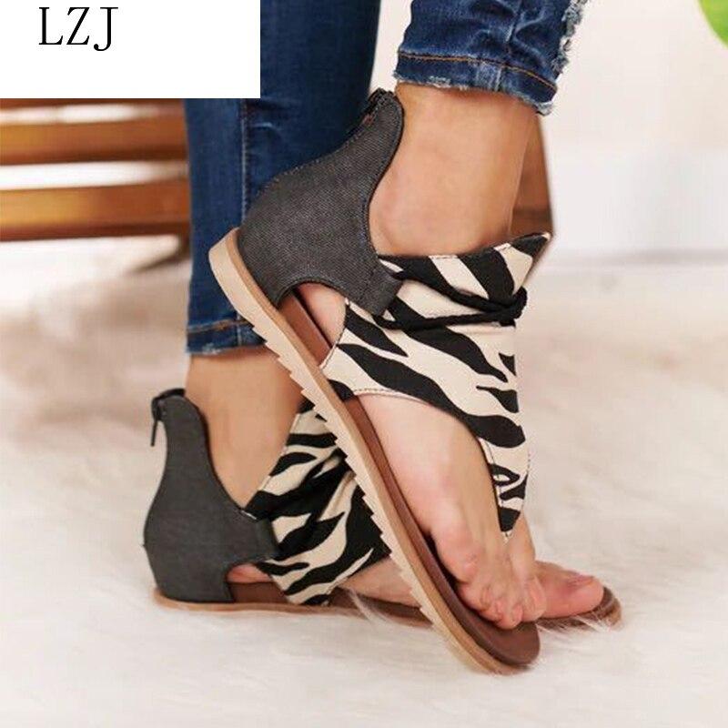 Women Sandals Leopard Clip Toe Vintage Flat Retro Shoes Woman Casual Female Beach Sandals Fashion Ladies 2020 Summer 35-43